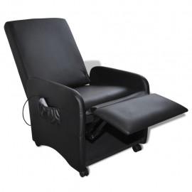 Poltrona da massaggio pieghevole reclinabile in pelle artificiale nera