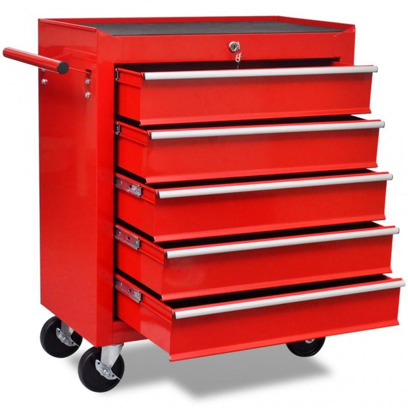 Cassettiera In Metallo Per Officina.Carrello Portautensili Con 5 Cassetti Rosso Per Garage Officina