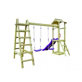 Casa Giochi con Scivolo Scale Altalene 286x237x218cm Legno Pino