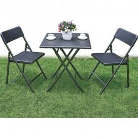 Set balcone tavolo sedie nero acciaio verniciato