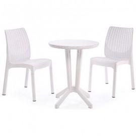 Set giardino tavolo e due sedie bianco resina stile rattan